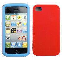 iPhone 4/4s, Taschen / Cover - BackCover Hard&Soft Blau/Rot kompatibel zu Apple iPhone 4